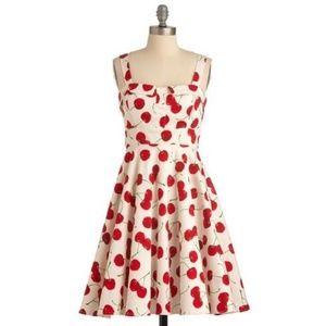 Modcloth Pull Up a Cherry A-Line Dress Rockabilly